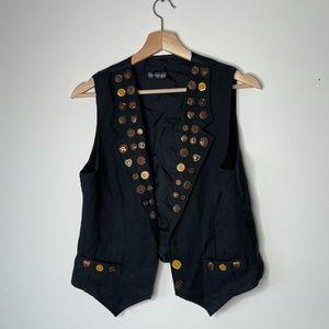 Head over heels vest black with buttons medium